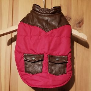 dog jacket with leather collar and pockets